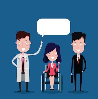 Médecin et femme d'affaires en fauteuil roulant