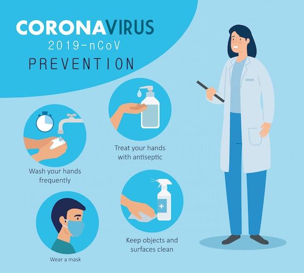 Médecin femme avec campagne de prévention du coronavirus 2019 ncov