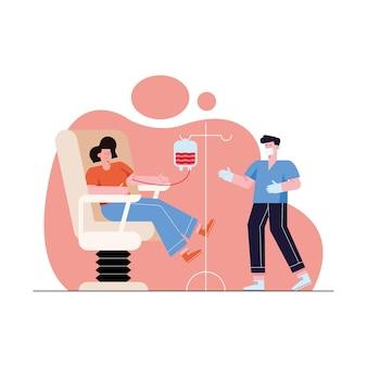 Médecin et femme sur chaise faisant un don avec une poche de sang sur fond blanc