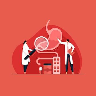 Médecin gastro-entérologie diagnostiquer le traitement endoscopique de l'estomac humain et l'examen échographique