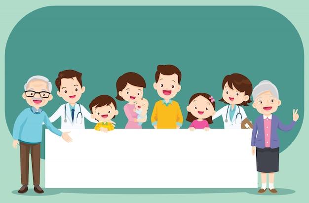 Médecin et grands-parents avec spece blanc