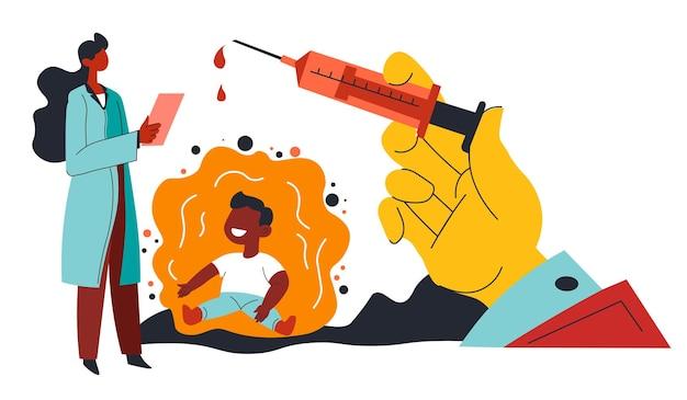 Médecin guérissant un enfant de la maladie à l'aide d'un nouveau vaccin. kid et tourné avec une substance cicatrisante. doc vérifiant le patient et prenant soin de sa santé. services hospitaliers ou cliniques. vecteur de laboratoire dans un style plat