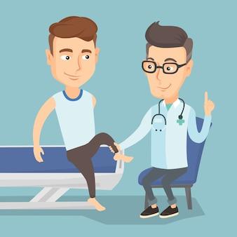 Médecin de gymnastique vérifiant la cheville d'un patient.