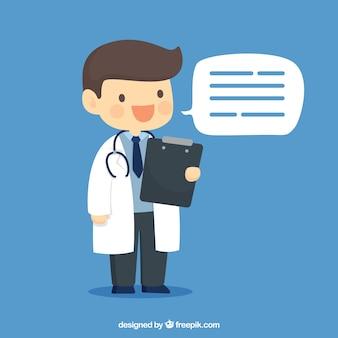 Médecin heureux avec le presse-papiers