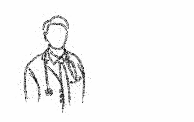 Médecin - icône médicale, continuer fond de vecteur de conception de particules.
