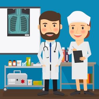 Médecin et infirmière caractères médicaux