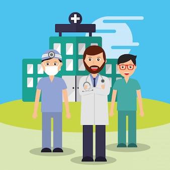 Médecin infirmière et chirurgien personnel hôpital équipe médicale