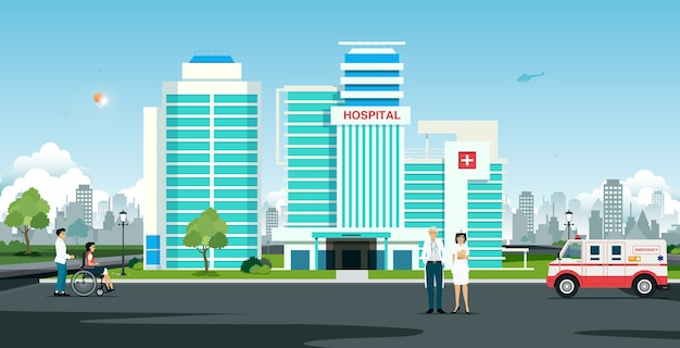 Médecin et infirmière devant l'hôpital avec ambulance