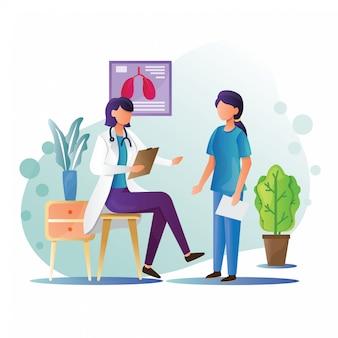 Médecin et infirmière illustration avec style plat