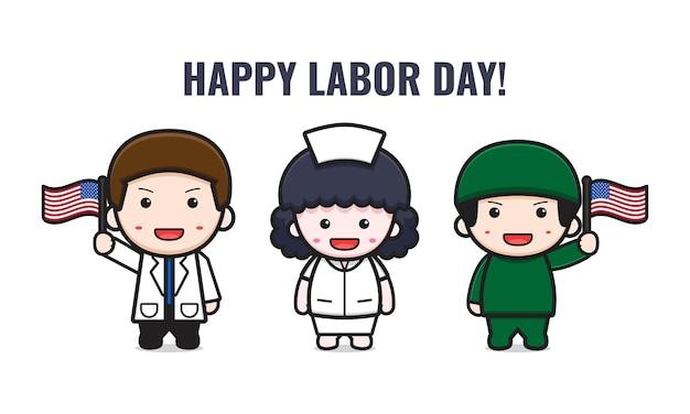 Un médecin et une infirmière mignons célèbrent l'illustration de dessin animé de la fête du travail. concevoir un style cartoon plat isolé