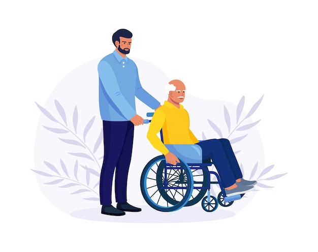 Médecin ou infirmière, parent poussant un fauteuil roulant avec un vieil homme malade ou handicapé. personne âgée recevant de l'aide, des soins. bénévole prenant soin d'un patient âgé handicapé
