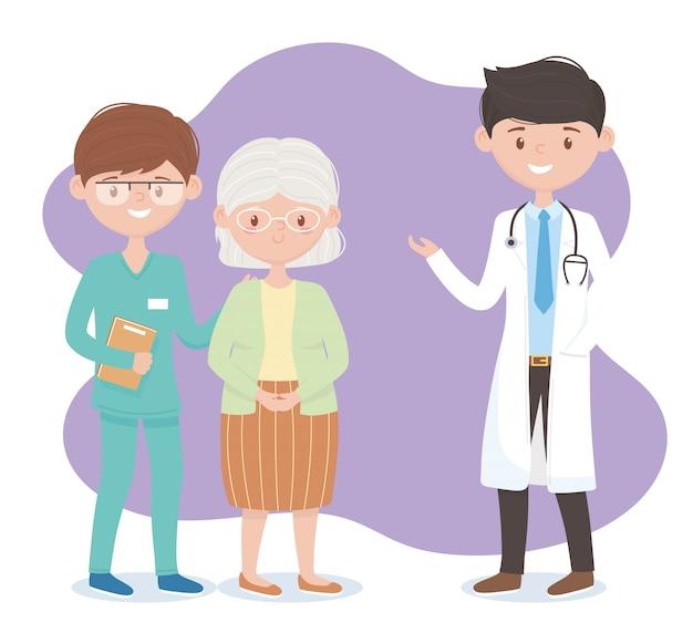 Médecin infirmière et personnages de grand-mère, médecins et personnes âgées