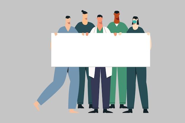 Médecin et infirmière tenant une bannière vierge cartoon illustration