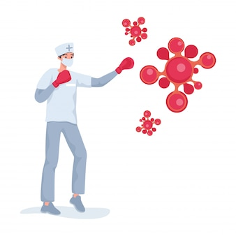 Médecin ou infirmière en uniforme se battre avec des cellules rouges de coronavirus illustration de dessin animé plat.