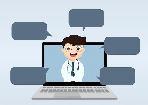 Médecin à l'intérieur d'un ordinateur portable avec des bulles