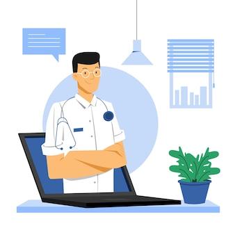 Médecin en ligne avec blouse blanche