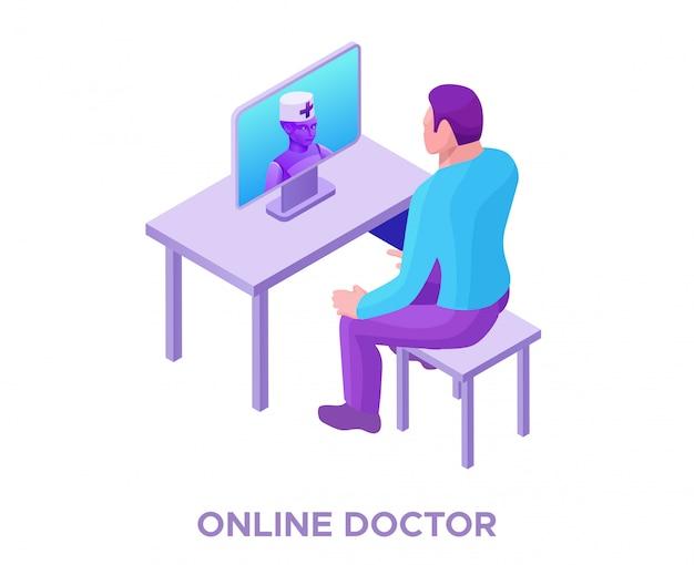 Médecin en ligne consultant le patient