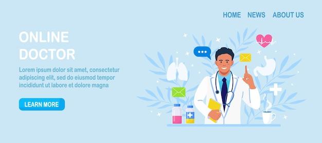 Médecin en ligne. demandez au thérapeute. service de conseil médical ou de consultation en ligne
