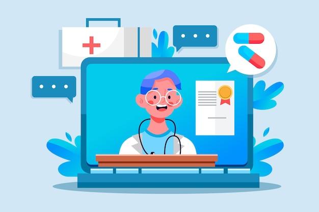 Médecin en ligne donnant des conseils en quarantaine