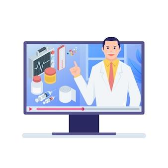 Médecin en ligne sur ordinateur