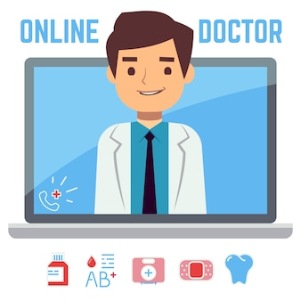 Médecin en ligne plat, service de santé informatique internet, concept de consultation médicale