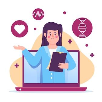Médecin en ligne avec presse-papiers
