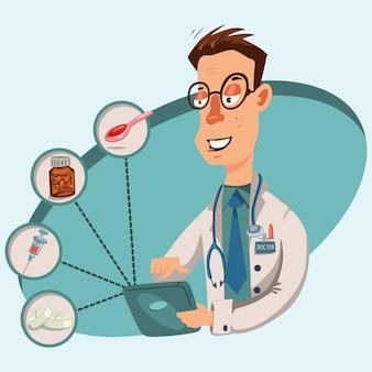 Médecin en ligne. soins médicaux et consultation des patients via internet sur tablette ou ordinateur portable. illustration de caractère médical homme.
