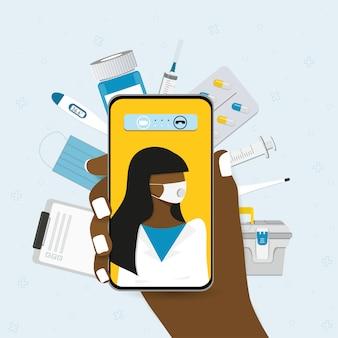 Médecin en ligne, télémédecine, service médical en ligne pour les patients.
