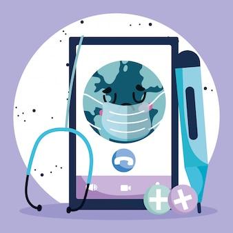 Médecin en ligne, thermomètre mondial pour smartphone et stéthoscope covid 19