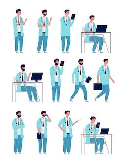 Médecin mâle. personne médicale de soins de santé au travail des personnages de l'homme gestionnaire dans des poses d'action