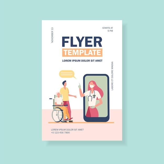 Médecin en masque consultant des patients via un modèle de flyer pour smartphone