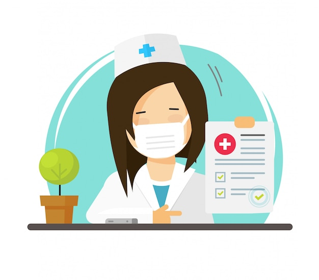 Médecin en masque facial médical ou médecin femme personne montrant un bon test de santé vérifier la liste des résultats icône illustration de dessin animé plat, personnage féminin médical et rapport papier image design moderne