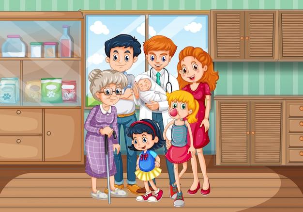 Médecin et membres de la famille à l'hôpital