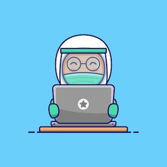 Médecin mignon portant une combinaison de protection fonctionne avec son ordinateur portable