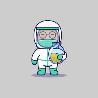 Médecin mignon portant un pot de vaccin
