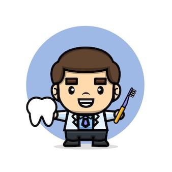 Médecin mignon tenant la dent et la brosse à dents