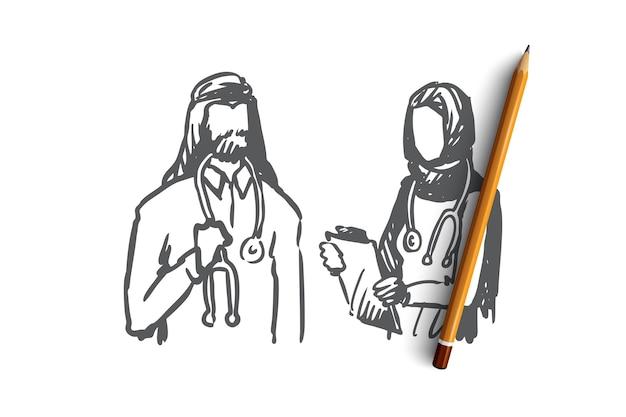 Médecin musulman dessiné à la main et infirmière dans l'esquisse de concept de clinique