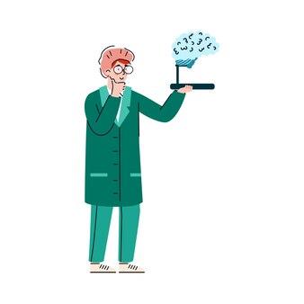 Médecin neurologue de dessin animé regardant l'homme médecine modèle cerveau