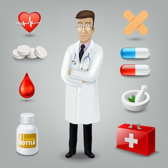 Médecin avec objet médical. illustration