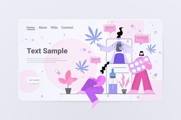 Médecin offrant aux patients de l'huile de chanvre cbd extraite de la plante de marijuana cannabis médical consultation en ligne