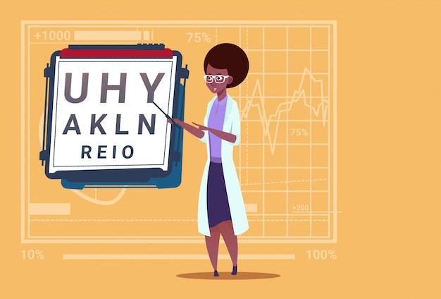 Médecin ophtalmologiste afro-américain avec hôpital de travail des cliniques d'ophtalmologiste et de test de vision