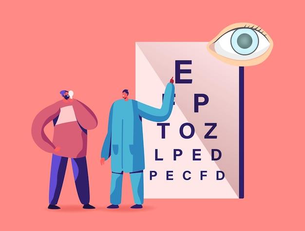 Un médecin ophtalmologiste vérifie la vue du patient pour la dioptrie des lunettes. oculist male character conduct eyecheck, traitement d'examen d'opticien professionnel, soins de santé. illustration vectorielle de gens de dessin animé