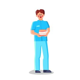 Médecin orthodontiste travailleur médical tenir jaw