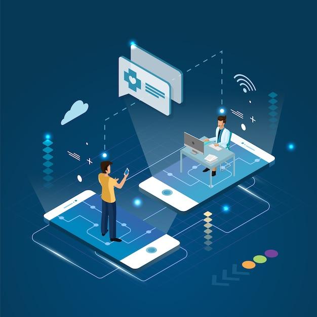 Le médecin et le patient à distance de consultation de traitement sur un concept de smartphone.