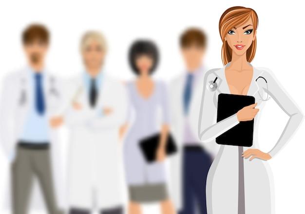 Médecin avec le personnel médical