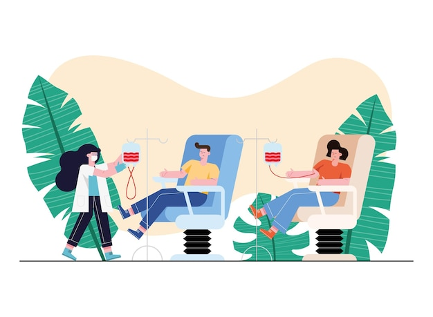 Médecin et personnes sur chaise faisant un don avec une poche de sang sur fond blanc