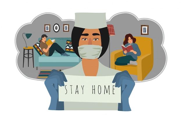 Médecin et personnes en quarantaine à la maison.
