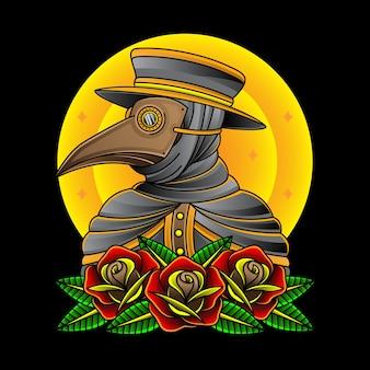 Médecin de la peste avec des roses
