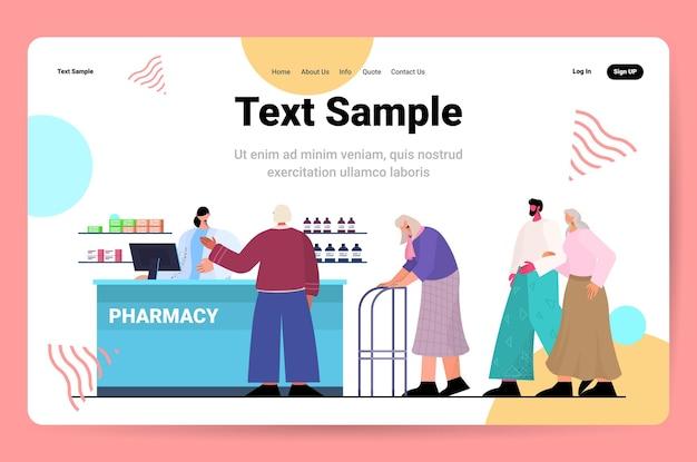Médecin pharmacien donnant des pilules aux clients patients au comptoir de la pharmacie dans la pharmacie moderne médecine concept de soins de santé horizontal copie espace pleine longueur illustration vectorielle