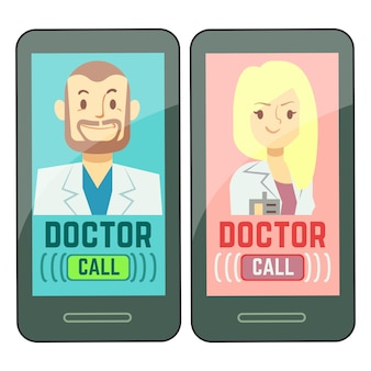Médecin plat mobile, consultant masculin et féminin en médecine personnalisée sur smartphone
